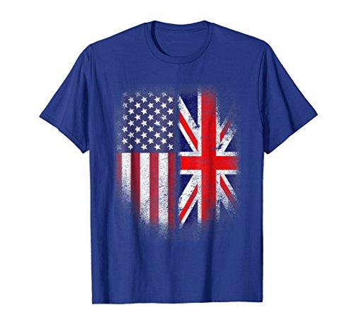 British American Flag T-shirt Great Britain Union Jack Uk