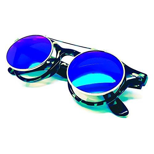 mujer KISS® retro de del sol VINTAGE COOL Doble Steampunk La UP de Gafas unisex mod Habana FLIP hombre Azul Lente qOCt1