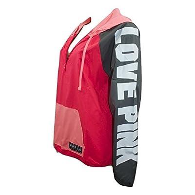 Victorias Secret Pink Hooded Quarter Zip Anorak Neon Coral