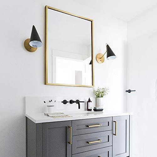 YHMT Rectangular Bathroom Mirror, 50X70cm with Metal Frame, Wall Mounted, Makeup -