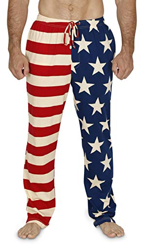 American Lounge Pants - Men's Vintage American Flag Patriotic Pajama Lounge Pants or Shorts, Pants, Size L