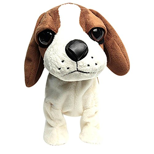 radio control shop Balakie Lovely Electronic Dogs Pets Sound Control Interactive Robot Toy Smart Plush Puppy with 8 Fun Activities Xmas Gifts for Kids and Adult (B)