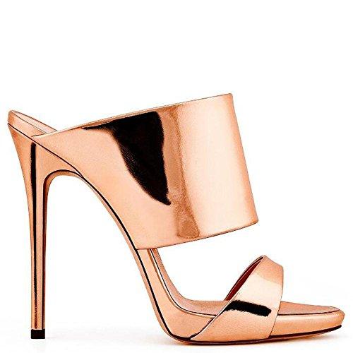 L@YC Gl@YC Women'S High Heeled Cool Slippers Shiny Luxury Comfortable Wedding Wedding Dress Office Shoes, gold, 35