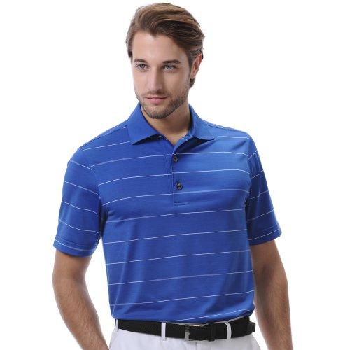 Monterey Club Mens Dry Swing Single Color Stripe Polo Shirt #1661 (Rich Blue/White, ()