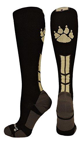 (MadSportsStuff Wild Paw Over the Calf Socks (Black/Vegas Gold, Small))