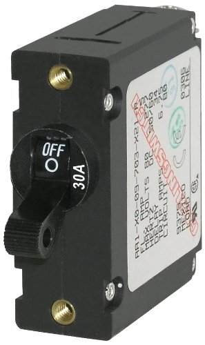 (Blue Sea Systems A-Series Black Toggle Single Pole 30A Circuit Breaker )