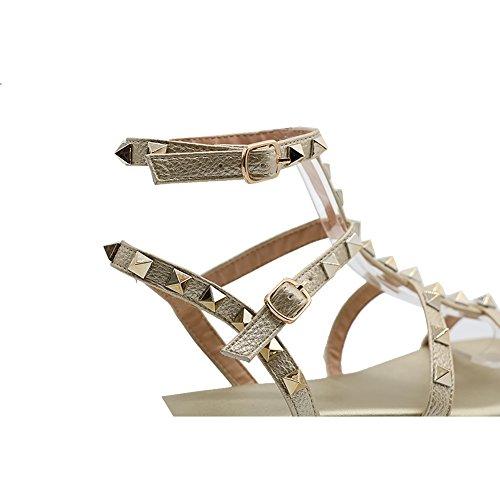 D'or Été Rivets Chaussures Sangles Femmes Flats Crampons Flats Sandales Bout À Eks De Ouvert qrwRnU8wHx