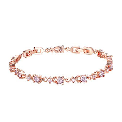 Gemstone Rose Gold Bracelet - Bamoer Luxury Slender Rose Gold Plated Bracelet with Sparkling Pink Cubic Zirconia Stones