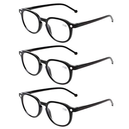 READING GLASSES 3 Pair Retro Round Spring Hinged Readers Great Value Quality Glasses for Reading (3 Pack Black, 0.50) (Rare Glass)