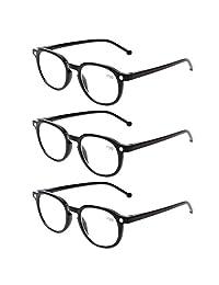 Lote de 3 pares de anteojos de lectura con bisagras de resorte redondas y de gran calidad para lectura