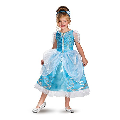 Disguise Disney's Cinderella Sparkle Deluxe Girls Costume, 4-6X (Disney Princess Girls Cinderella Classic Costume)