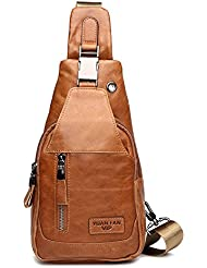 Leather Chest Bag, Gracosy Outdoor Cross Body Bag First Layer of Leather Sling Backpack Shoulder Bag, Fashion...