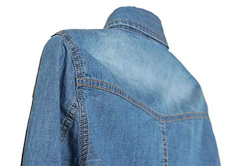 Lunga Jacket Ragazze Autunno Prodotto Al Allentato Festa Jeans Denim Plus Donna Nodo Eleganti Style Fashion Manica Blau Corto Outerwear Vintage Cappotto Primaverile Bavero Giacche dt7RBqR
