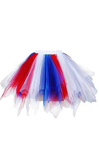 Musever 1950s Vintage Ballet Bubble Skirt Tulle Petticoat Puffy Tutu Red/White/Blue Small/Medium (Womens Red Tutu Skirt)