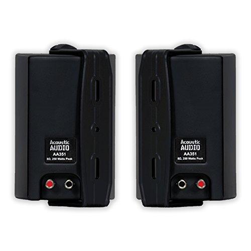 Acoustic Audio Aa351b Indoor Outdoor 2 Way Speakers 500 Watt Black Pair