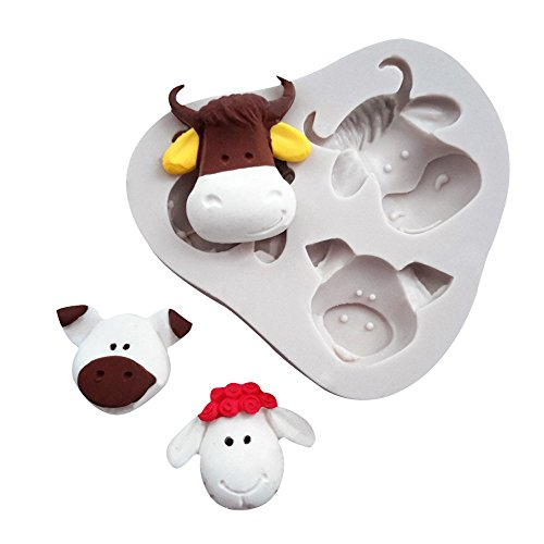 (WYD 3D Animal Cow Sheep Pig Head Silicone Molds Cake Molds Decoration Baking Tool Handmade Soap Chocolate Fondant Molds)