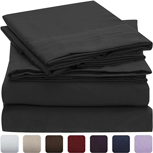 mellanni bed sheet set - brushed microfiber 1800 bedding - wrinkle, fade, stain resistant - hypoallergenic - 4 piece (queen, black)