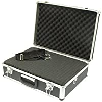 SRA Cases Aluminum Hard Case with Foam Insert, Black, 18.1 x 13 x 6 Inches