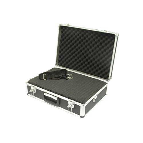 SRA Cases Aluminum Hard Case with Foam Insert, Black, 18.1 x