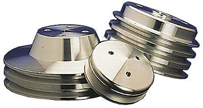 March Performance 6010 Performance Series Clear Powder Coated Billet Aluminum Short Water Pump V-Belt Pulleys - Set of 3 by MARCH