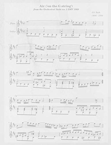 Air ('on the G string') from the orchestral suite no. 3 BMV 1068 J.S. Bach: BLANK Sheet Music Standard Manuscript Paper Notebook for Songwriters, Musicians and Composers
