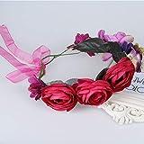Wreath Big Rose Flower Crown Women Girls Head Band Kids Hair Accessories Bohemian Wedding Women Bridal Headpiece red