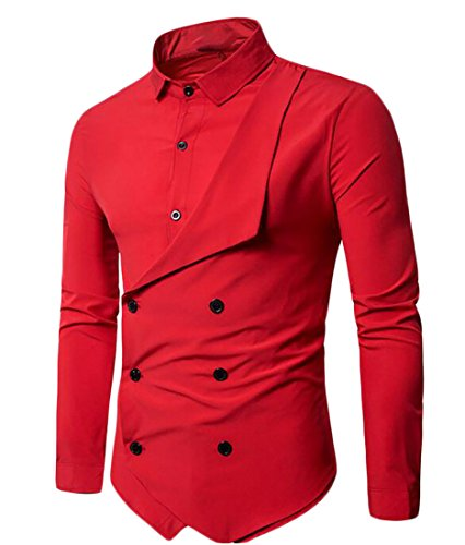 FLCH+YIGE Mens Button Down Fake Two Piece Polo-Collar Cotton Longshirt Red - Polo Fake Sport