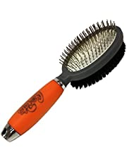 Professional Double Sided Pin & Bristle Brush for Dogs & Cats by GoPets Grooming Comb Cleans Pets Shedding & Dirt for Short Medium or Long Hair