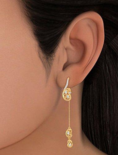 14K jaune Or 0,19CT TW White-diamond (IJ | SI) Pendants d'oreilles
