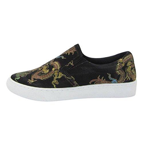 Soda IF13 Womens Classic Elastic Panel Slip On Stitched Fashion Sneaker Black Print BWKwrR2m2J