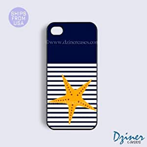 iPhone 5c Case - Blue White Stripes Starfish iPhone Cover