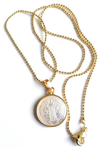 Small Mother of Pearl Saint Benedict Medal 18k Gold Plated Ball Chain 17