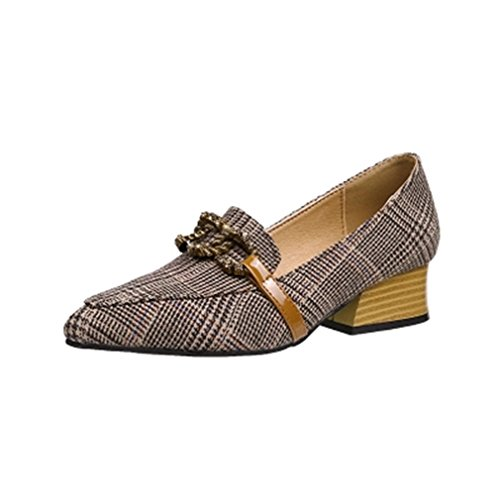 Dames Klassiek Pumps Loafers Gesp Puntschoen Instapper Grid Blok Hiel Jurk Loafer Pump Schoenen Grijs
