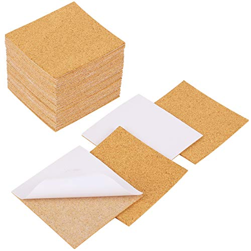 "Apipi 40 Pack Self-Adhesive Cork Squares - 4""x 4"" Cork Backing Sheets Mini Wall Cork Tiles for Coasters and Christmas DIY Crafts Supplies"