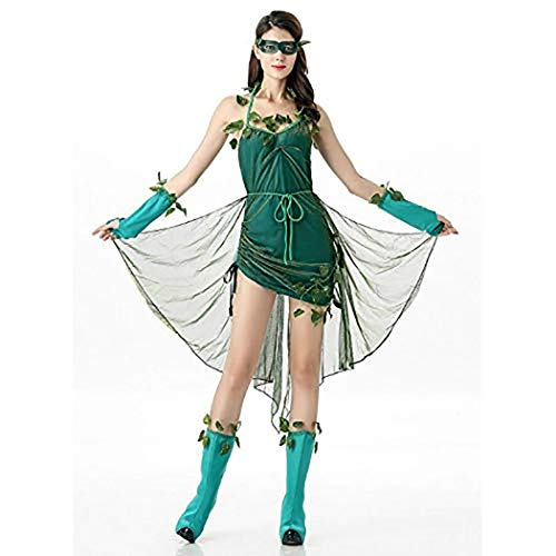 Zooka Halloween Party Girls Cosplay Clothing Flower Fairy Elf Role Playing Cosplay Dress Green Forest Elves Cosplay Dress