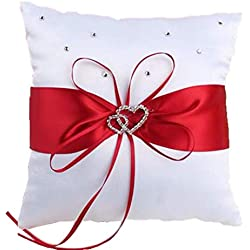 "he andi 7.8"" Satin Double Hearts Decoration Wedding Ring Bearer Pillow (Red)"
