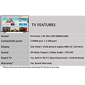 Mi TV 4X 138.8 cm (55 Inches) Ultra HD Android LED TV (Black)