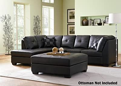 """Coaster Darie 500606 109"""" Sectional Sofa with Left Facing Side Chaise Right Arm Facing Sofa Accent Pillows Included Sinuous Spring Seat and Tufted Bonded Leather Upholstery in Black"""