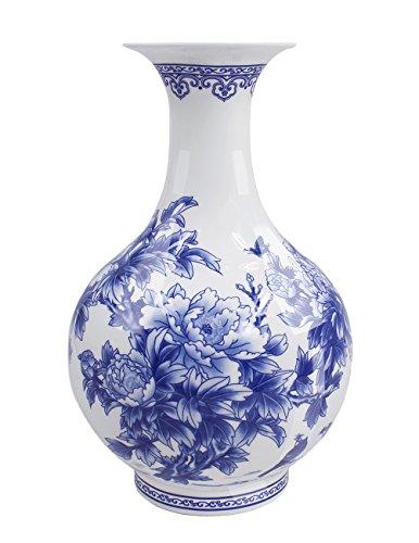 Dahlia Birds in Peony Bush Blue and White Bone China Flower Vase, Chinese Bottle Shaped (Large Chinese Vase)