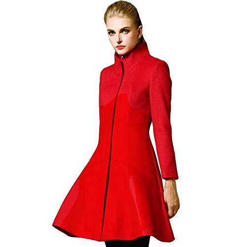 Shmily Girl WomenWinter Slim Collar Woolen Coat Jacket AsianXL/USMedium, Red