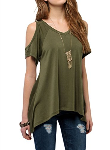 Sidefeel Women Shoulder Sleeve Blouse