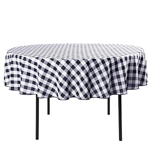 Waysle 90-Inch Round Tablecloth, 100% Polyester Washable Table Cloth for Circular Table, Black and White - Black Tablecloth White