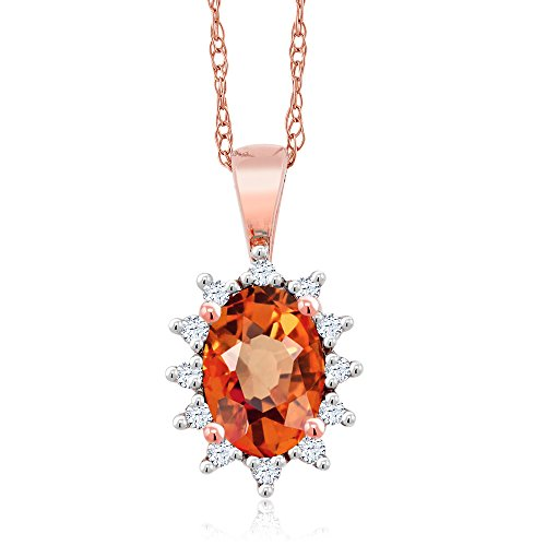 (Gem Stone King 18K Rose Gold 0.63 Ct Oval Orange Sapphire White Diamond Pendant)