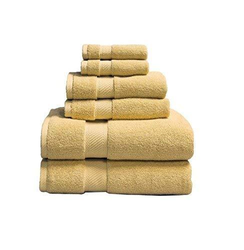 Elle 100 Percent Combed Cotton 6 Piece Towel Set, Raffia