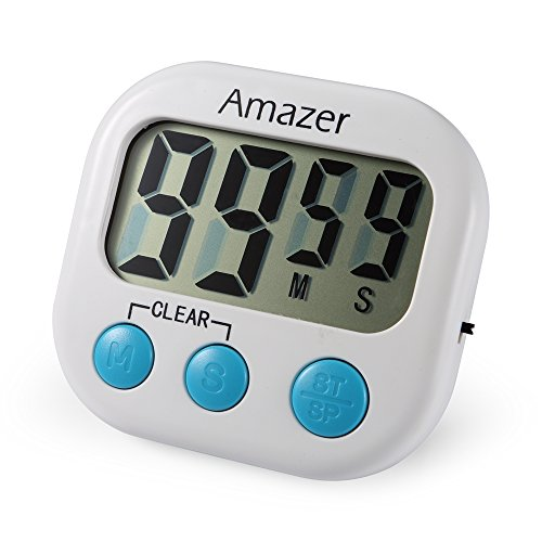 Amazer Best Digital Kitchen Timer, Digital Lound Timer with Large Screen Magnet for Kitchen Cooking Baking Sports Games Office, Includes 1 AAA Battery