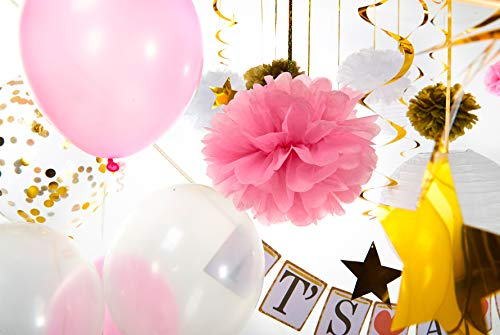 Premium Girl Baby Shower Decorations for Girl Set. Quick & Easy to Set up. Perfect for Baby Shower Favors, Gifts, Games I Balloons, Paper Lanterns, Paper Flower Pom Poms, Its a Girl Banner. Sash.