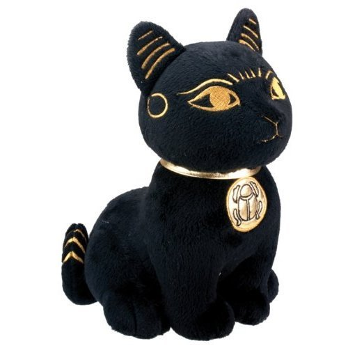 Black and Gold Bastet Cat Kitten Egyptian Stuffed Plush Doll (Statues Cat Black)