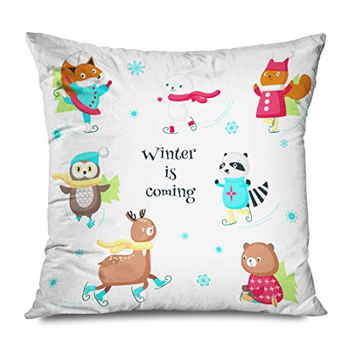 Ahawoso Throw Pillow Cover Square 20x20 Inch Merry Set Christmas Cute Animals Warm Hats Scarves Enjoying Baby Squirrel Wildlife Signs Symbols Decorative Zippered Pillowcase Home Decor Cushion Case