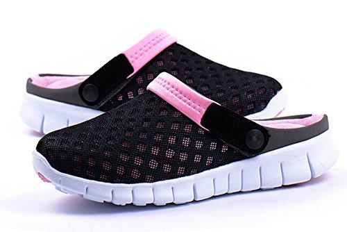 Fansela(TM) Unisex Men Women Breathable Mesh Net Slippers Autumn Sandals Loafers Slip Ons Flats Pink