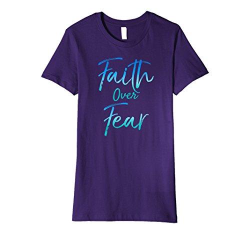 (Womens Faith Over Fear Shirt Vintage Inspirational Bold Christian Medium Purple)